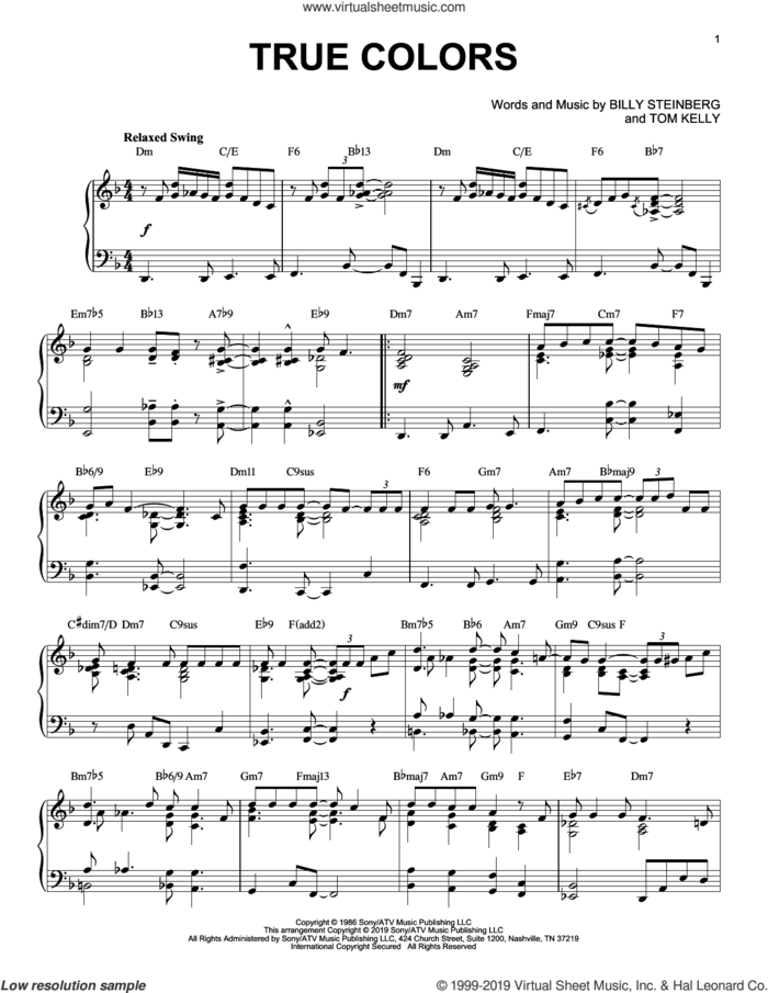 True Colors [Jazz version] sheet music for piano solo by Cyndi Lauper, Phil Collins, Billy Steinberg and Tom Kelly, intermediate skill level