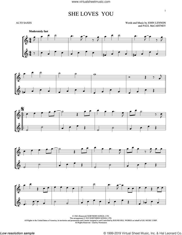 She Loves You (arr. Mark Phillips) sheet music for two alto saxophones (duets) by The Beatles, Mark Phillips, John Lennon and Paul McCartney, intermediate skill level