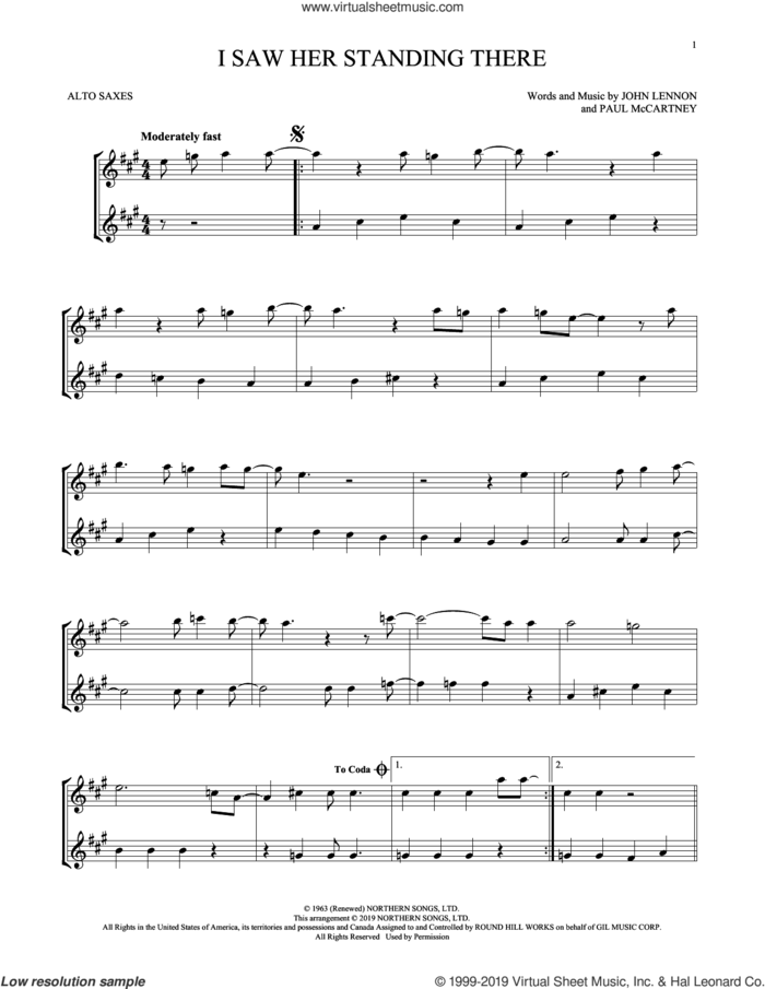 I Saw Her Standing There (arr. Mark Phillips) sheet music for two alto saxophones (duets) by The Beatles, Mark Phillips, John Lennon and Paul McCartney, intermediate skill level