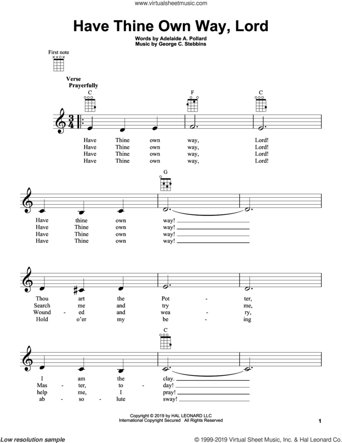 Have Thine Own Way, Lord sheet music for ukulele by George C. Stebbins and Adelaide A. Pollard, intermediate skill level