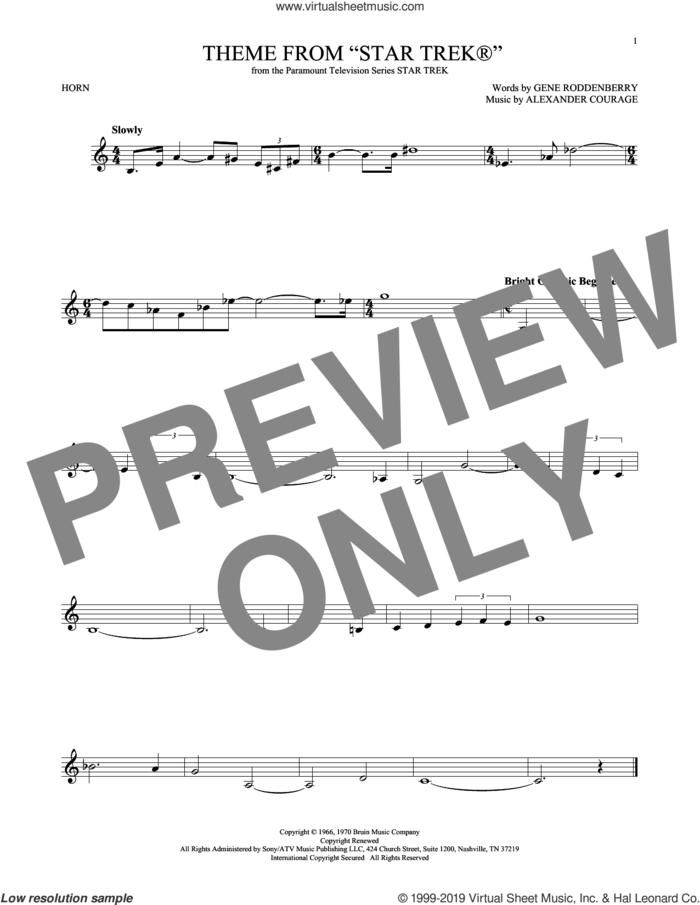Theme From Star Trek sheet music for horn solo by Alexander Courage and Gene Roddenberry, intermediate skill level