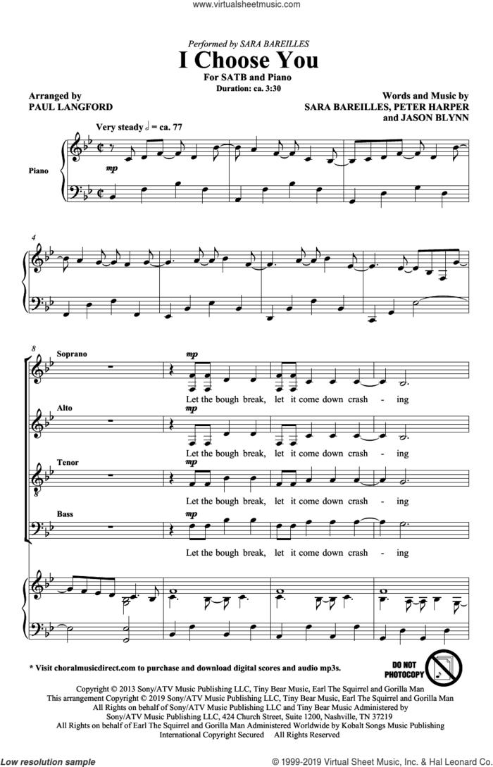 I Choose You (arr. Paul Langford) sheet music for choir (SATB: soprano, alto, tenor, bass) by Sara Bareilles, Paul Langford, Jason Blynn and Peter Harper, wedding score, intermediate skill level