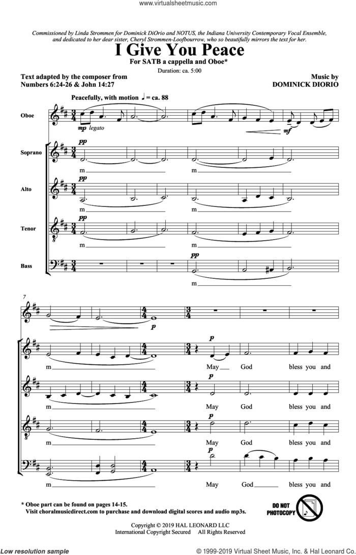 I Give You Peace sheet music for choir (SATB: soprano, alto, tenor, bass) by Dominick DiOrio, intermediate skill level