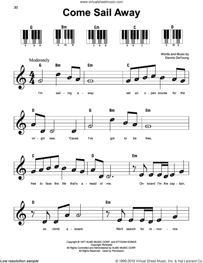 Come Sail Away sheet music for piano solo by Styx and Dennis DeYoung, beginner skill level