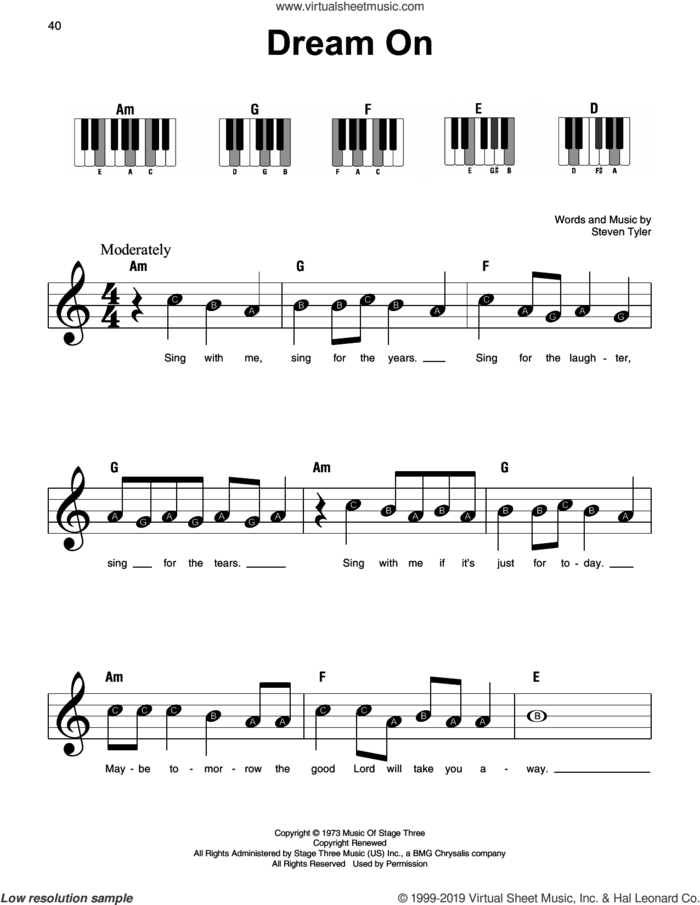 Dream On sheet music for piano solo by Aerosmith and Steven Tyler, beginner skill level
