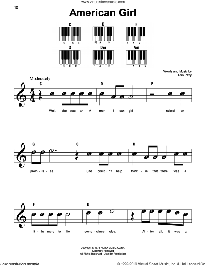 American Girl sheet music for piano solo by Tom Petty, beginner skill level