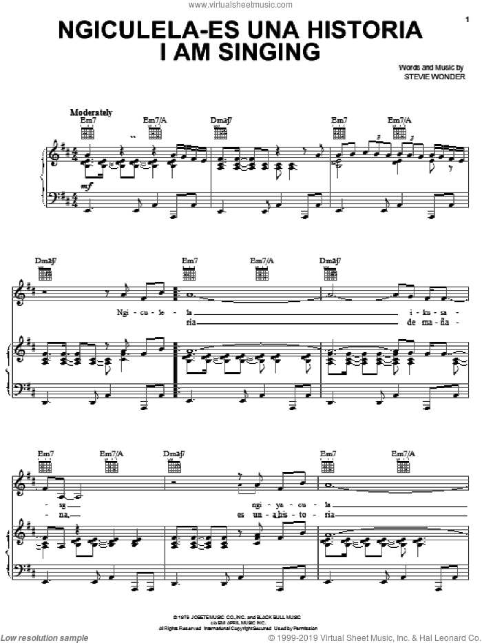Ngiculela-Es Una Historia I Am Singing sheet music for voice, piano or guitar by Stevie Wonder, intermediate skill level