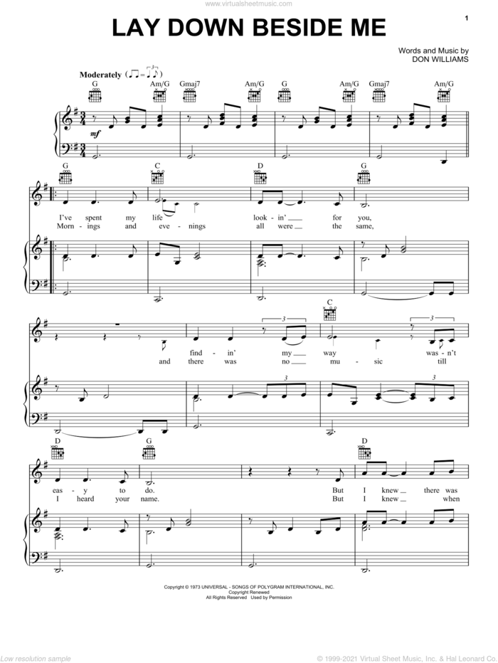 Lay Down Beside Me sheet music for voice, piano or guitar by Don Williams, intermediate skill level