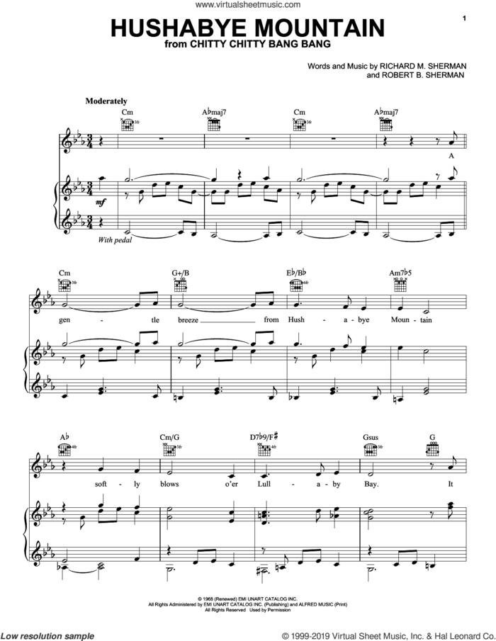 Hushabye Mountain (from Chitty Chitty Bang Bang) sheet music for voice, piano or guitar by Richard M. Sherman, Robert B. Sherman and Sherman Brothers, intermediate skill level