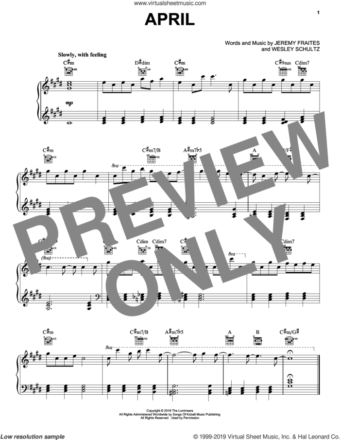 April sheet music for piano solo by The Lumineers, Jeremy Fraites and Wesley Schultz, intermediate skill level