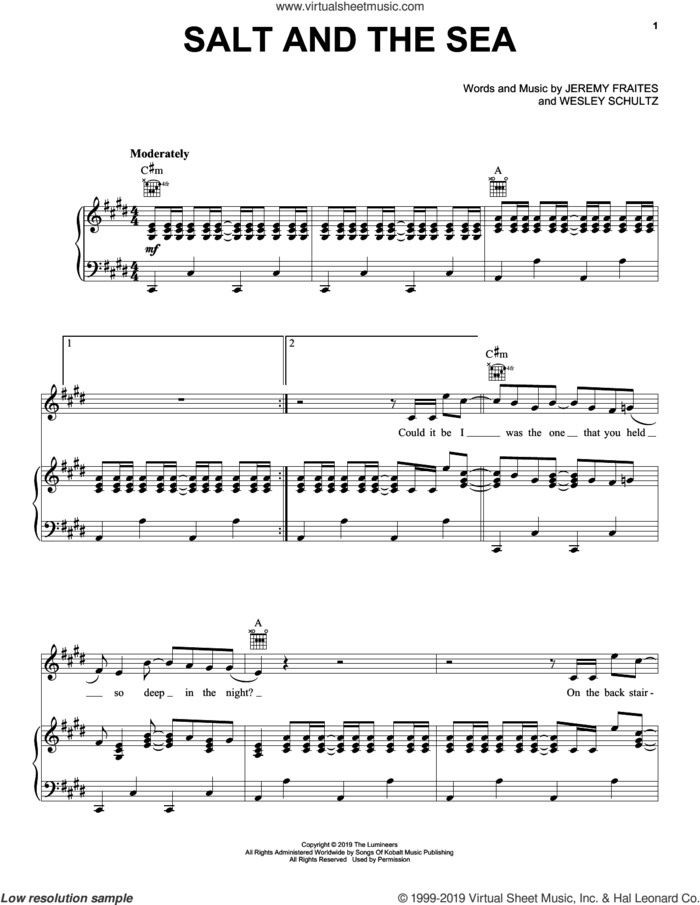 Salt And The Sea sheet music for voice, piano or guitar by The Lumineers, Jeremy Fraites and Wesley Schultz, intermediate skill level