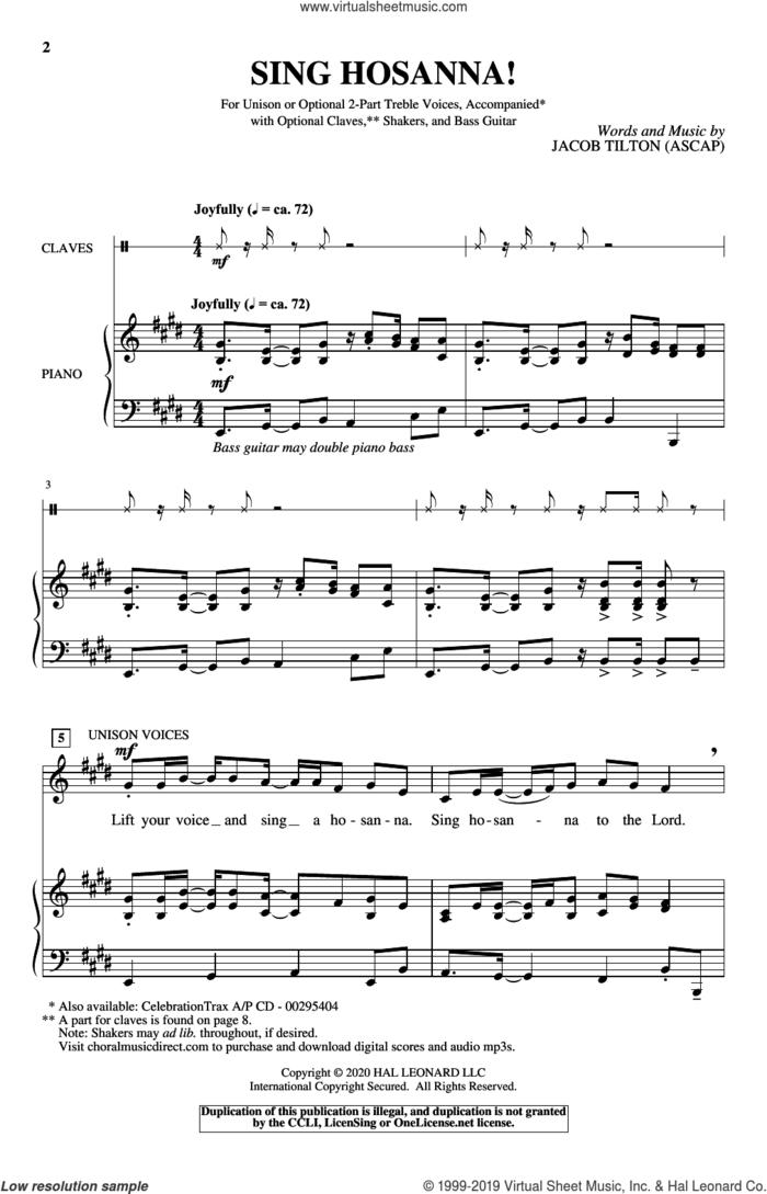 Sing Hosanna! sheet music for choir (Unison) by Jacob Tilton, intermediate skill level