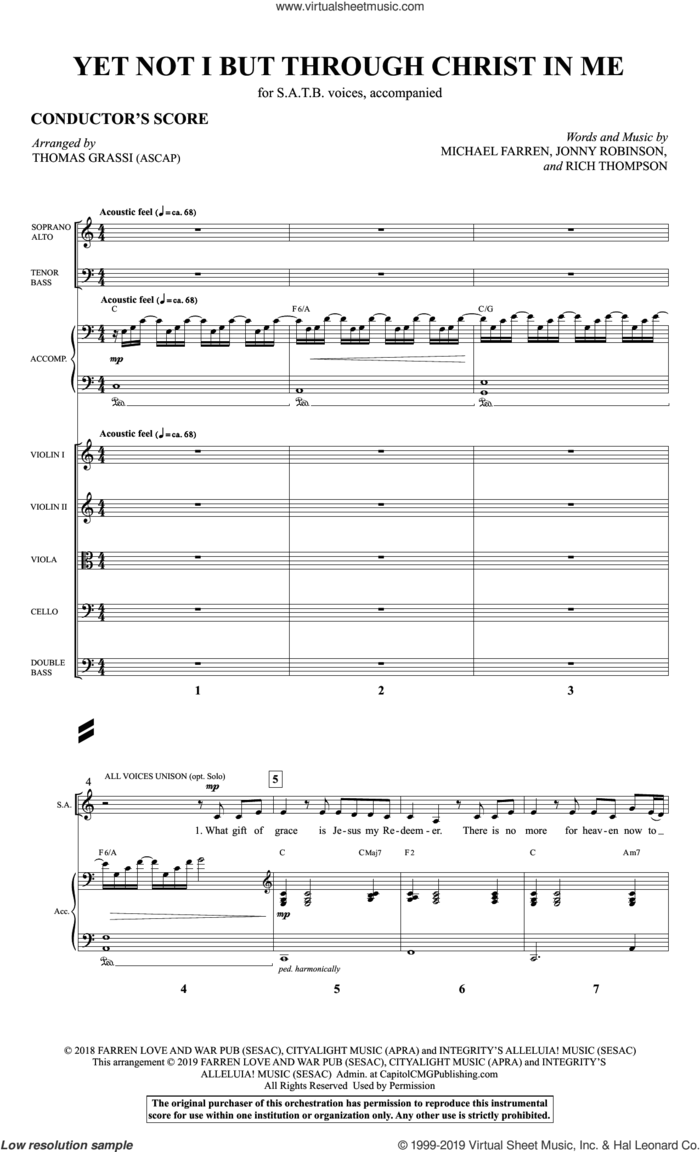 Yet Not I But Through Christ in Me (arr. Thomas Grassi) (COMPLETE) sheet music for orchestra/band by Thomas Grassi, City Alight, Jonny Robinson, Michael Farren and Rich Thompson, intermediate skill level