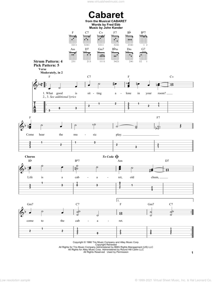 Cabaret sheet music for guitar solo (easy tablature) by John Kander, Fred Ebb and Kander & Ebb, easy guitar (easy tablature)