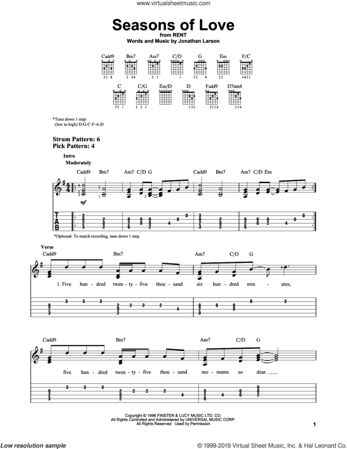 Seasons Of Love (from Rent) sheet music for guitar solo (easy tablature) by Jonathan Larson, easy guitar (easy tablature)