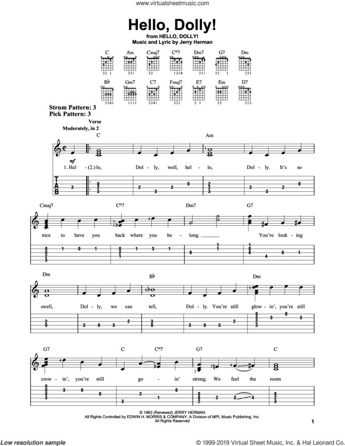 Hello, Dolly! sheet music for guitar solo (easy tablature) by Jerry Herman, easy guitar (easy tablature)