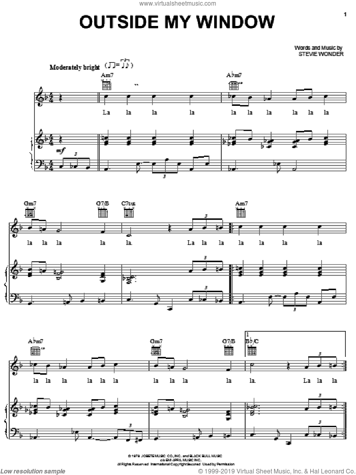Outside My Window sheet music for voice, piano or guitar by Stevie Wonder, intermediate skill level