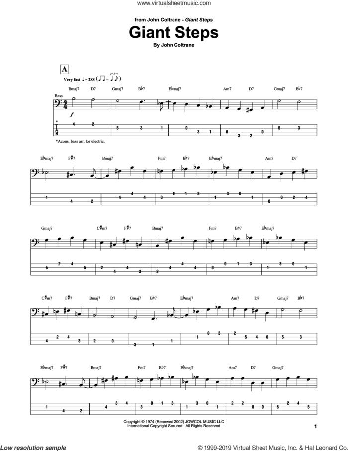 Giant Steps sheet music for bass (tablature) (bass guitar) by John Coltrane, intermediate skill level