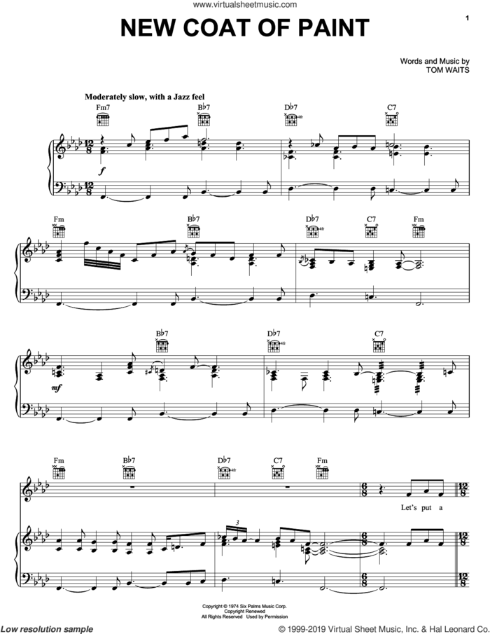 New Coat Of Paint sheet music for voice, piano or guitar by Bob Seger and Tom Waits, intermediate skill level