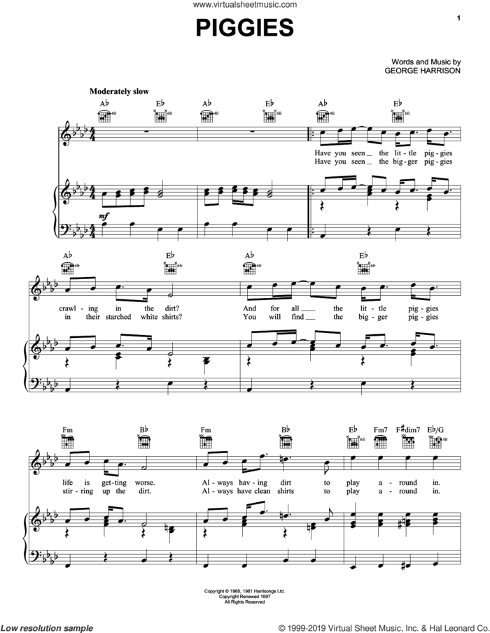 Piggies sheet music for voice, piano or guitar by The Beatles and George Harrison, intermediate skill level