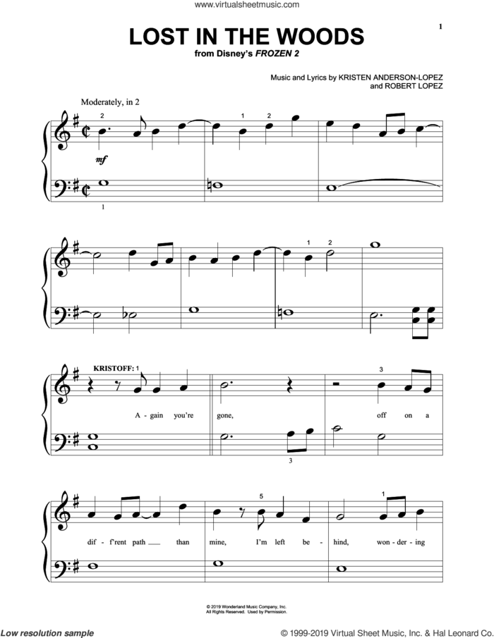 Lost In The Woods (from Disney's Frozen 2) sheet music for piano solo (big note book) by Jonathan Groff, Kristen Anderson-Lopez and Robert Lopez, easy piano (big note book)