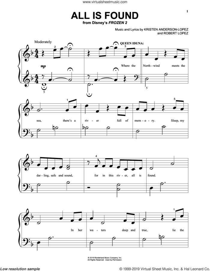 All Is Found (from Disney's Frozen 2) sheet music for piano solo (big note book) by Evan Rachel Wood, Kristen Anderson-Lopez and Robert Lopez, easy piano (big note book)