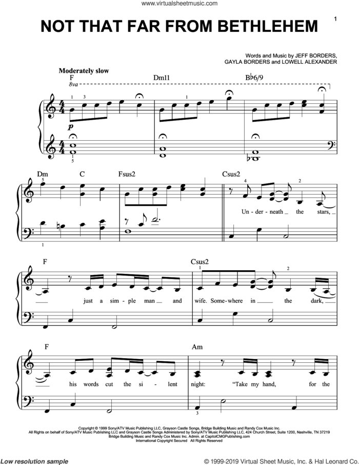 Not That Far From Bethlehem, (easy) sheet music for piano solo by Point Of Grace, Gayla Borders, Jeff Borders and Lowell Alexander, easy skill level
