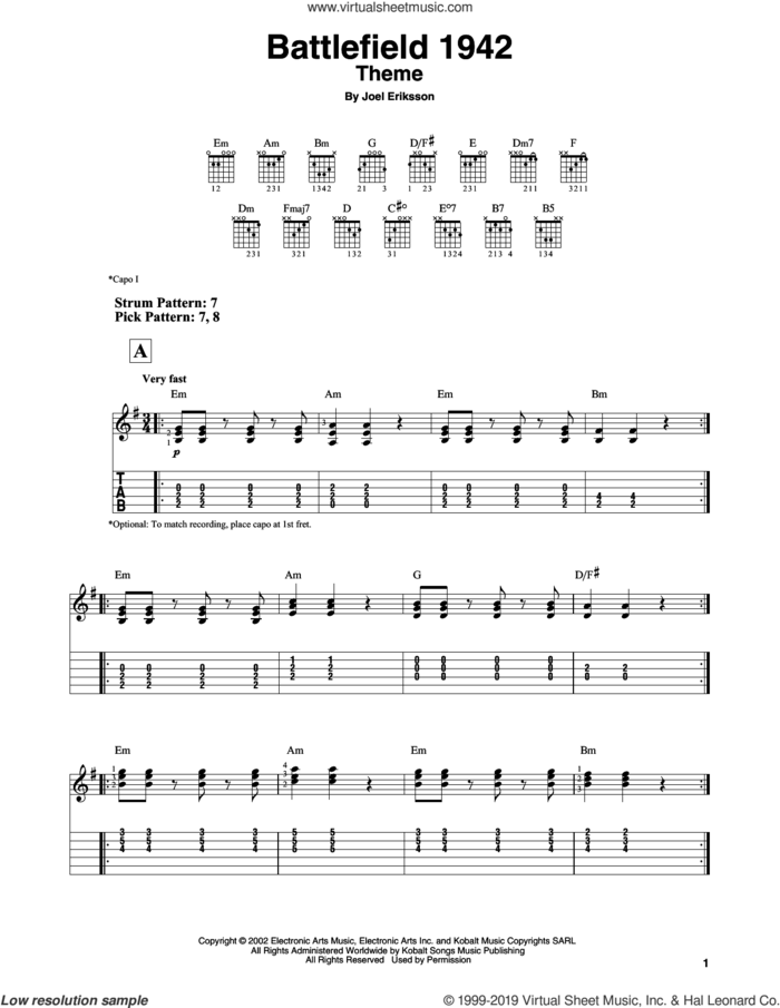 Battlefield 1942 Theme sheet music for guitar solo (easy tablature) by Joel Eriksson, easy guitar (easy tablature)