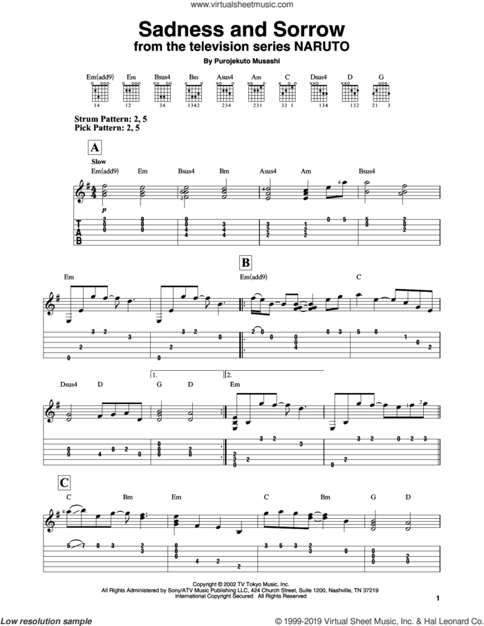 Sadness And Sorrow (from Naruto) sheet music for guitar solo (easy tablature) by Purojekuto Musashi, easy guitar (easy tablature)