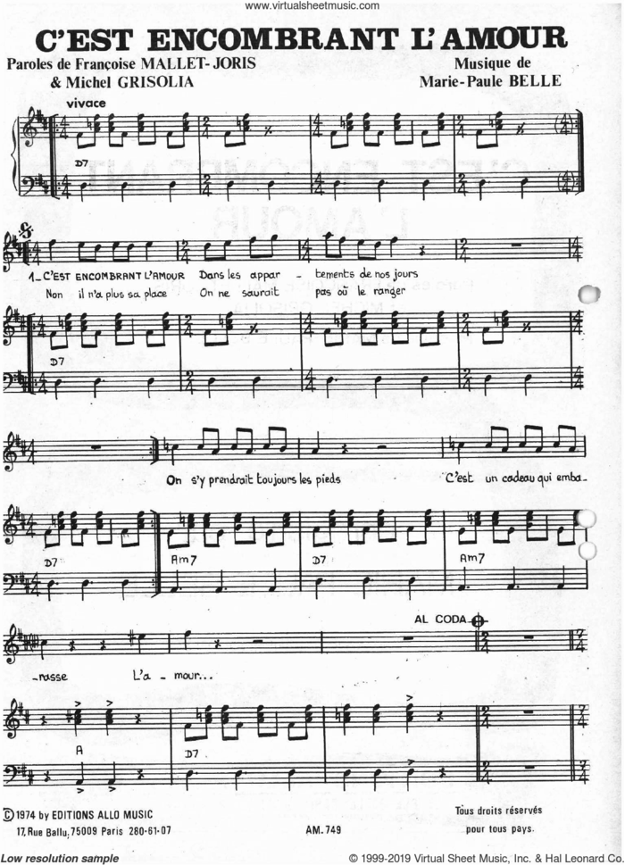 C'est Encombrant L'amour sheet music for voice and piano by Marie Paule Belle, Francoise Mallet-Joris, Michel Grisolia and Michel Grisolia, Francoise Mallet-Joris and Marie Paule Belle, classical score, intermediate skill level