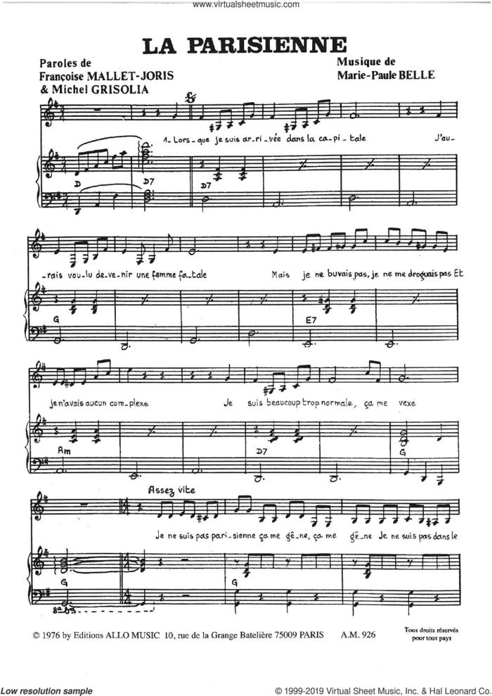 La Parisienne sheet music for voice and piano by Marie Paule Belle, Francoise Mallet-Joris, Michel Grisolia and Michel Grisolia, Francoise Mallet-Joris and Marie Paule Belle, classical score, intermediate skill level