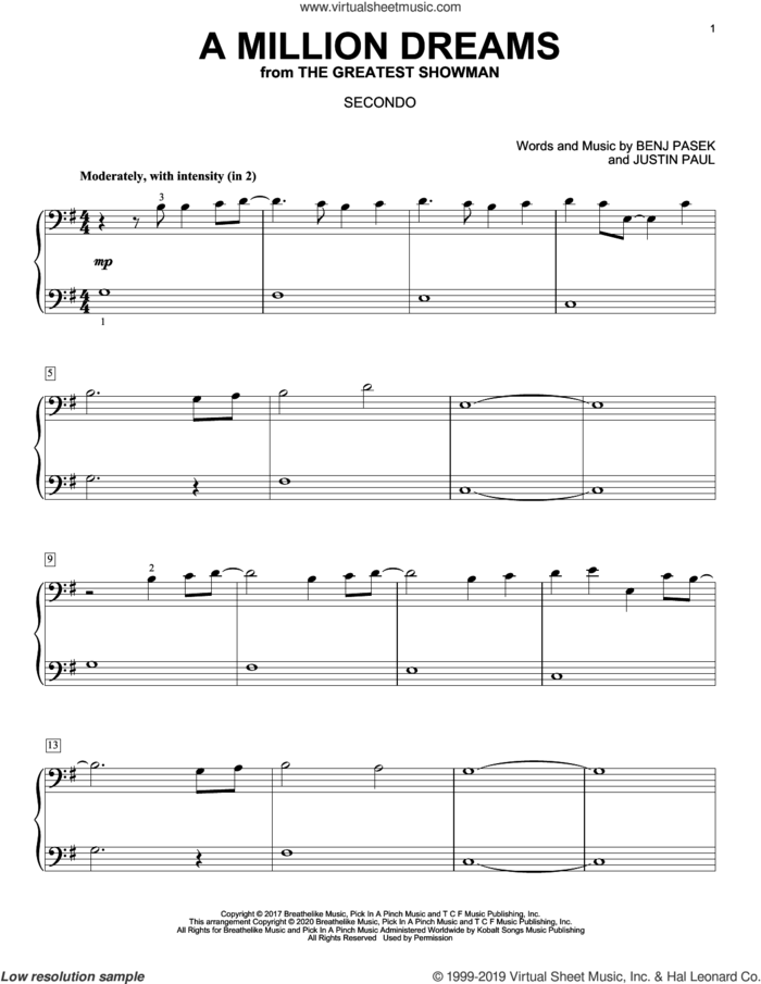 A Million Dreams (from The Greatest Showman) (arr. David Pearl) sheet music for piano four hands by Pasek & Paul, David Pearl, Benj Pasek and Justin Paul, intermediate skill level