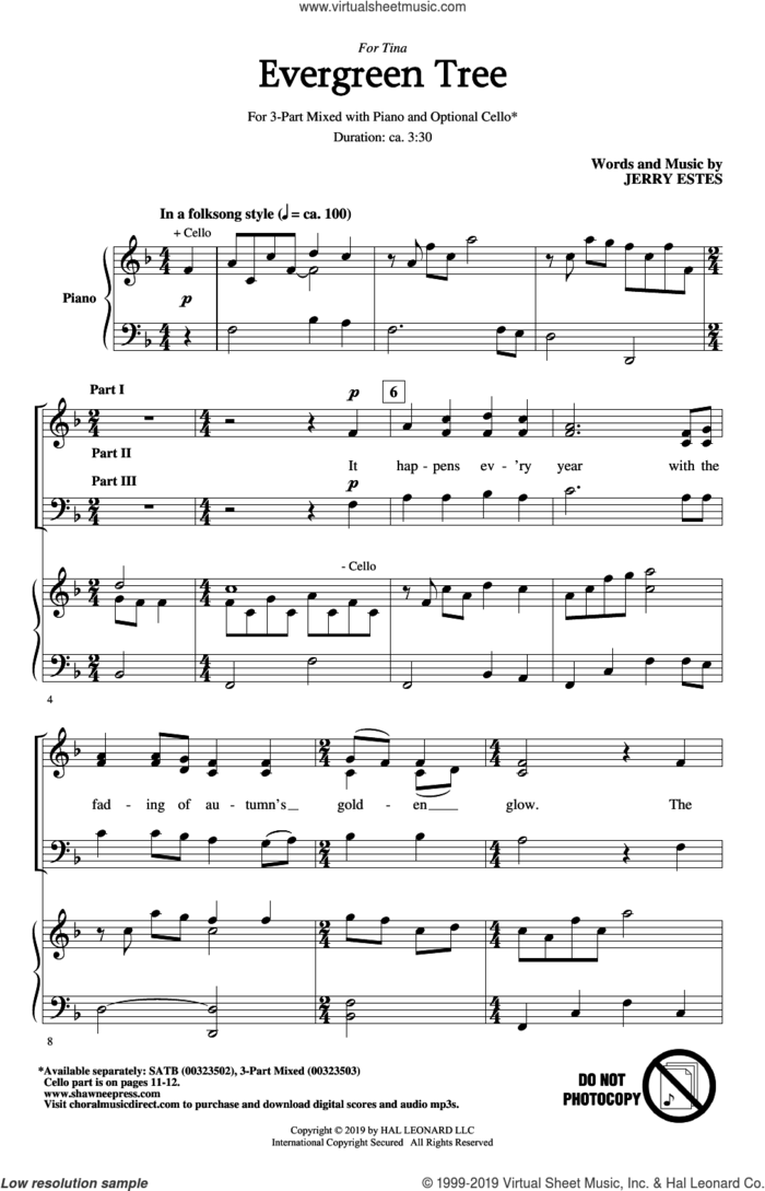 Evergreen Tree sheet music for choir (3-Part Mixed) by Jerry Estes, intermediate skill level