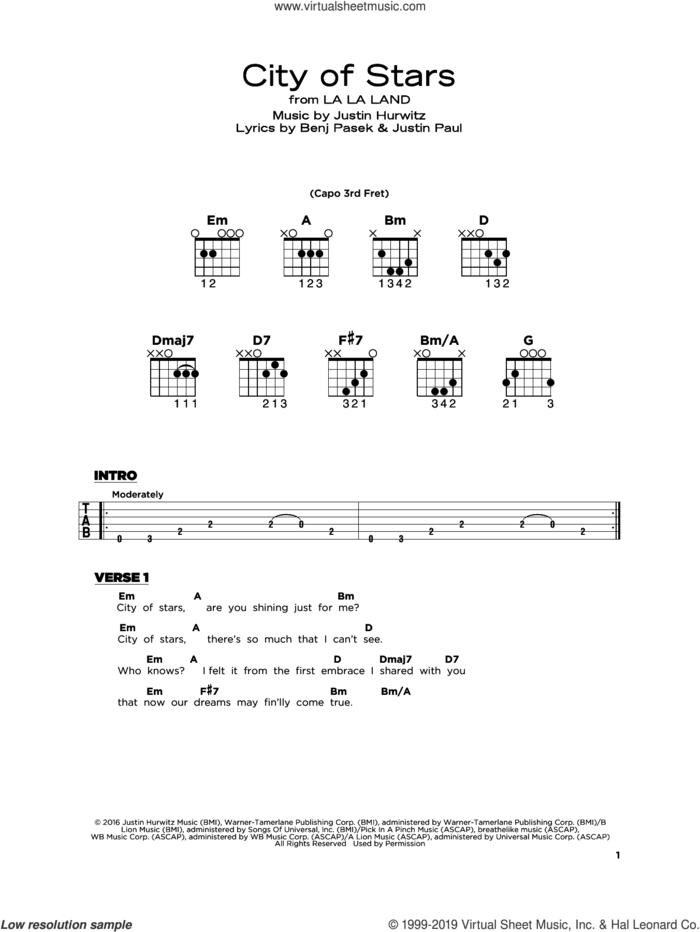 City Of Stars (from La La Land) sheet music for guitar solo by Justin Hurwitz, Benj Pasek and Justin Paul, beginner skill level