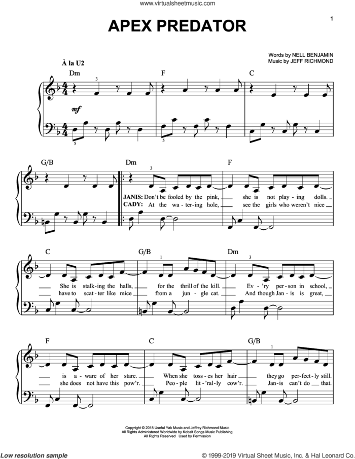 Apex Predator (from Mean Girls: The Broadway Musical) sheet music for piano solo by Nell Benjamin, Jeff Richmond and Jeff Richmond & Nell Benjamin, easy skill level