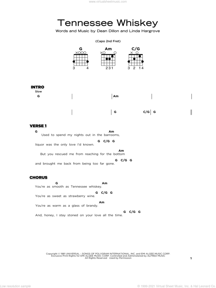Tennessee Whiskey sheet music for guitar solo by Chris Stapleton, Dean Dillon and Linda Hargrove, beginner skill level