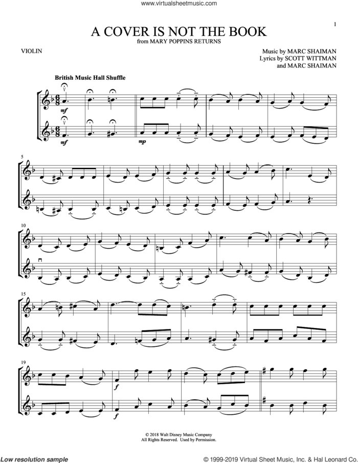 A Cover Is Not The Book (from Mary Poppins Returns) sheet music for two violins (duets, violin duets) by Emily Blunt, Lin-Manuel Miranda & Company, Marc Shaiman and Scott Wittman, intermediate skill level
