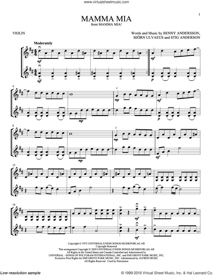 Mamma Mia sheet music for two violins (duets, violin duets) by ABBA, Benny Andersson, Bjorn Ulvaeus and Stig Anderson, intermediate skill level