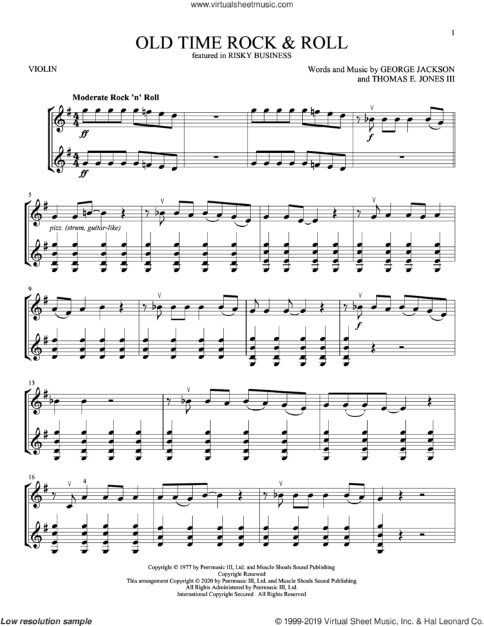 Old Time Rock and Roll (from Risky Business) sheet music for two violins (duets, violin duets) by Bob Seger, George Jackson and Tom Jones, intermediate skill level