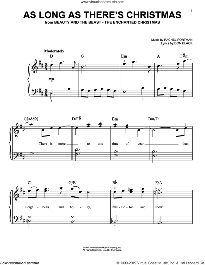As Long As There's Christmas (from Beauty And The Beast - The Enchanted Christmas) sheet music for piano solo by Don Black and Rachel Portman, easy skill level