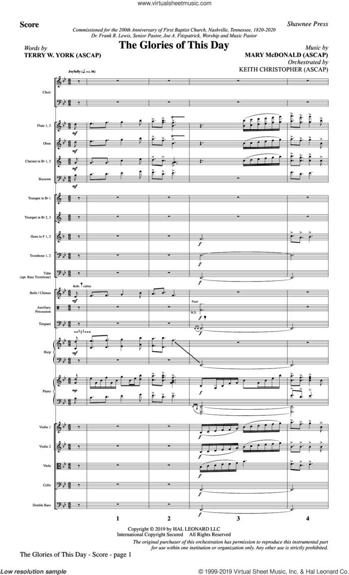 The Glories of This Day (COMPLETE) sheet music for orchestra/band by Terry W. York and Mary McDonald, Mary McDonald and Terry W. York, intermediate skill level