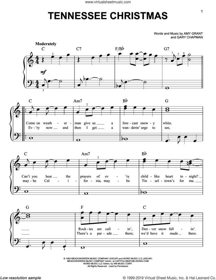 Tennessee Christmas sheet music for piano solo by Amy Grant and Gary Chapman, easy skill level