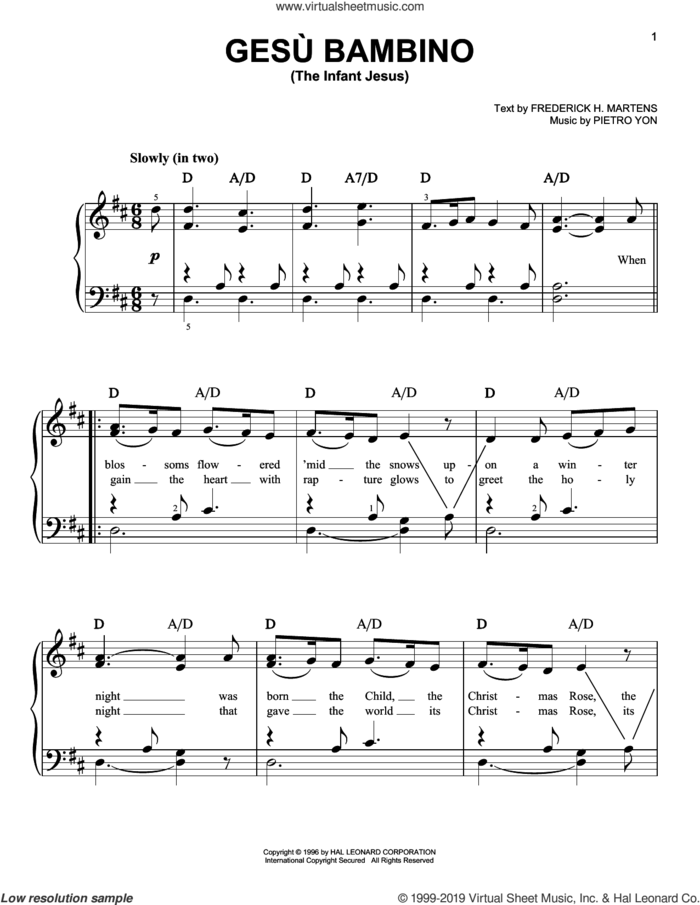Gesu Bambino (The Infant Jesus), (easy) sheet music for piano solo by Pietro Yon and Frederick H. Martens, easy skill level