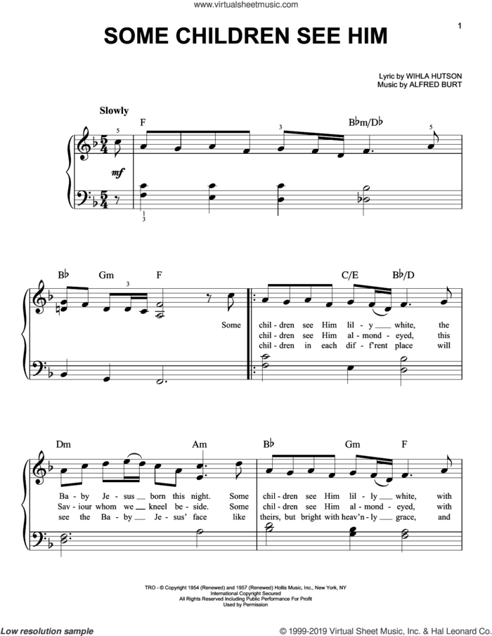 Some Children See Him, (easy) sheet music for piano solo by Alfred Burt and Wihla Hutson, easy skill level