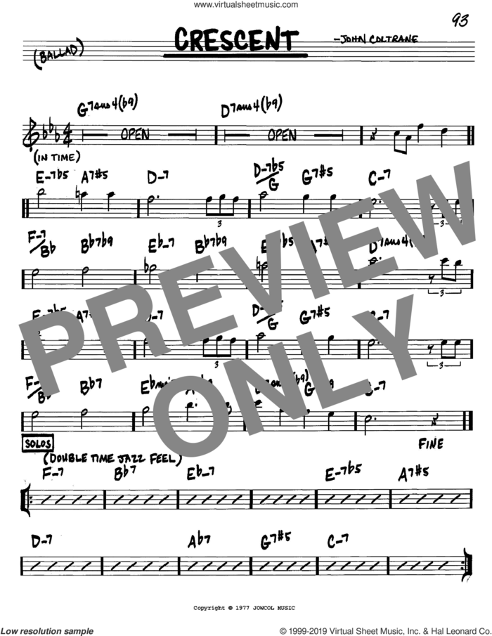 Crescent sheet music for voice and other instruments (in C) by John Coltrane, intermediate skill level