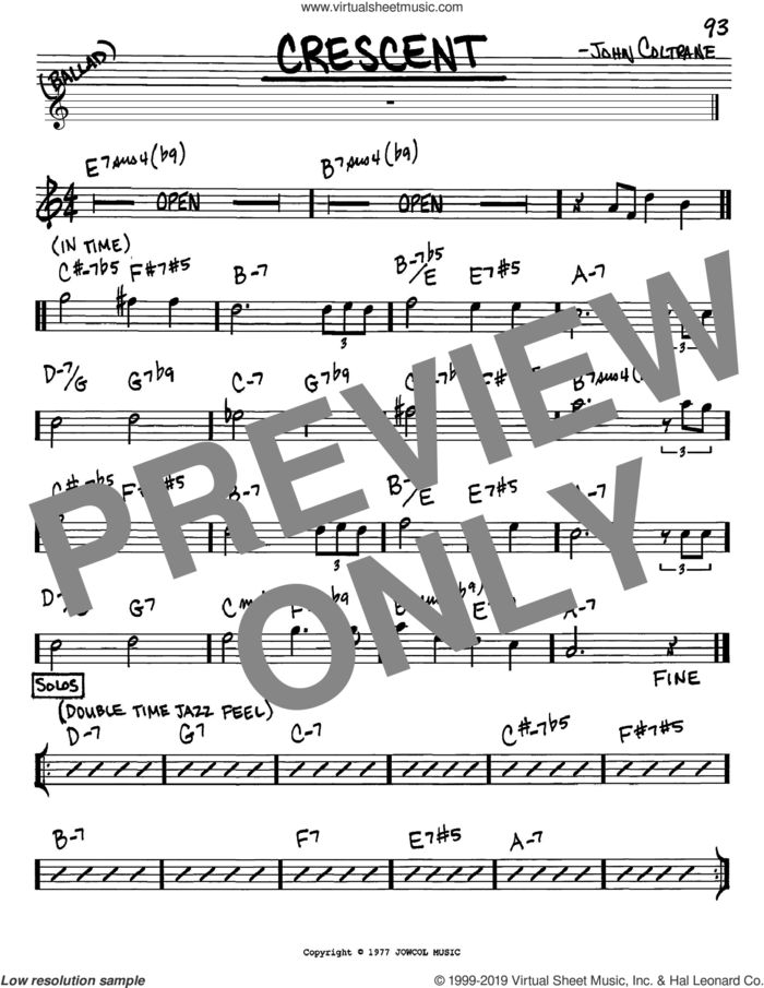 Crescent sheet music for voice and other instruments (in Eb) by John Coltrane, intermediate skill level