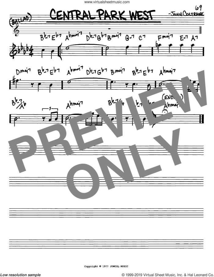 Central Park West sheet music for voice and other instruments (in Eb) by John Coltrane, intermediate skill level