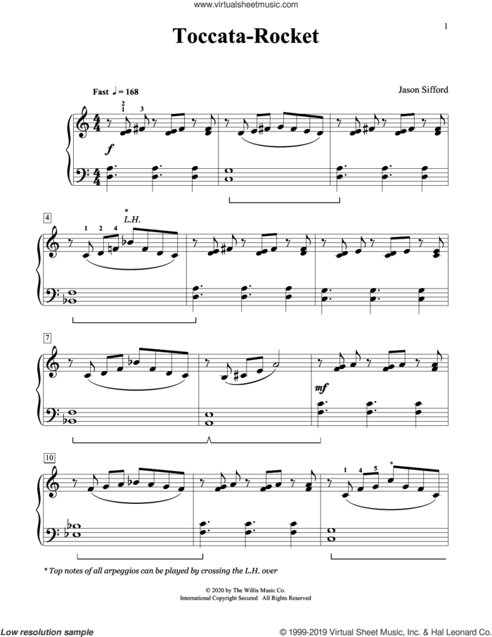 Toccata-Rocket sheet music for piano solo (elementary) by Jason Sifford, beginner piano (elementary)