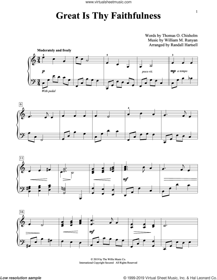 Great Is Thy Faithfulness (arr. Randall Hartsell) sheet music for piano solo (elementary) by Thomas O. Chisholm and William M. Runyan, Randall Hartsell, William M. Runyan and Thomas O. Chisholm, beginner piano (elementary)