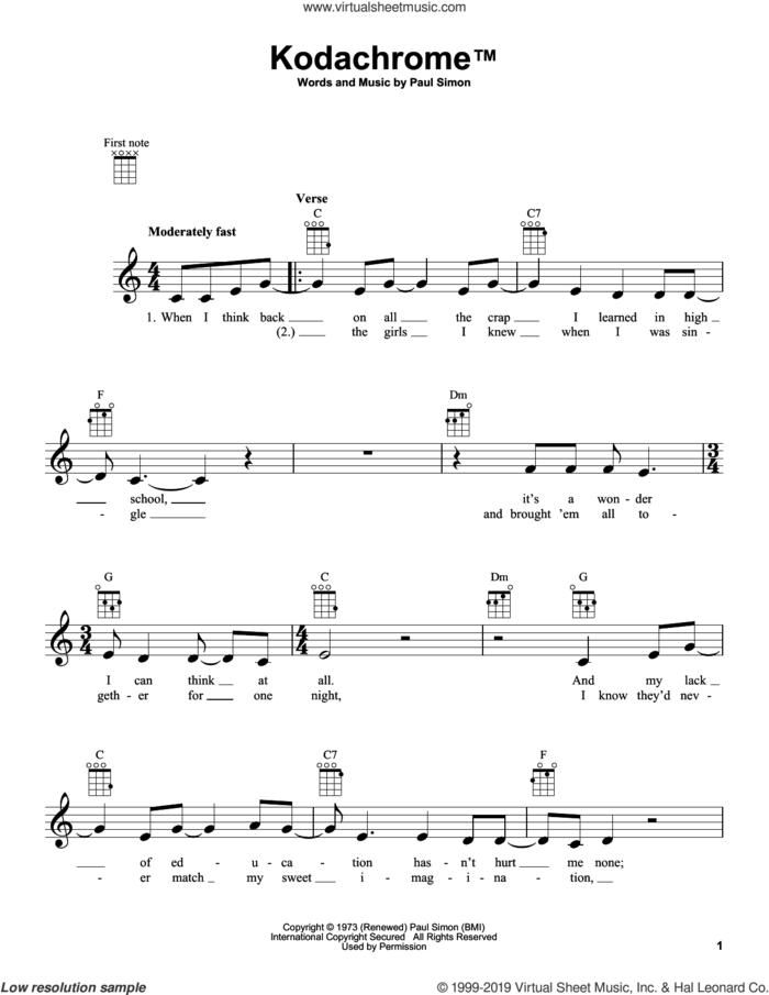 Kodachrome TM sheet music for ukulele by Paul Simon and Simon & Garfunkel, intermediate skill level